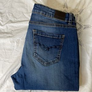 Bluenotes blue dark wash with fade flared bootcut low rise jeans Size 29